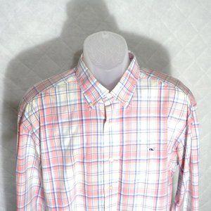 Vineyard Vines Pink Button Down Whale Shirt L